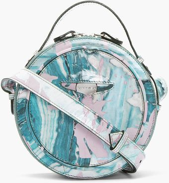 Carven Teal Patent Leather Marbled Round Shoulder Bag - Lyst