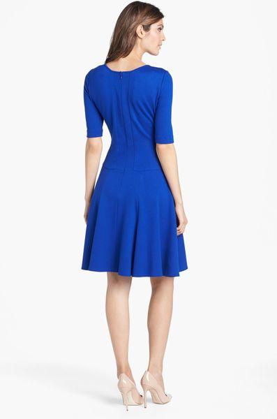 Eliza J Ponte Knit Fit Flare Dress In Blue Cobalt Lyst
