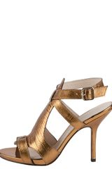 Elizabeth And James Tango Metallic Lizardembossed Sandal Copper - Lyst