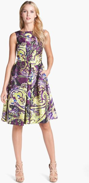 Isaac Mizrahi New York Print Charmeuse Fit Flare Dress In