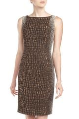 Lafayette 148 New York Faith Reptilian Jacquard Sheath Dress Bronze - Lyst