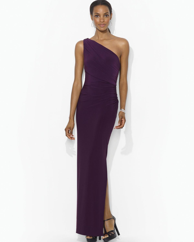 Lyst - Lauren By Ralph Lauren Sleeveless One Shoulder Gown in Purple