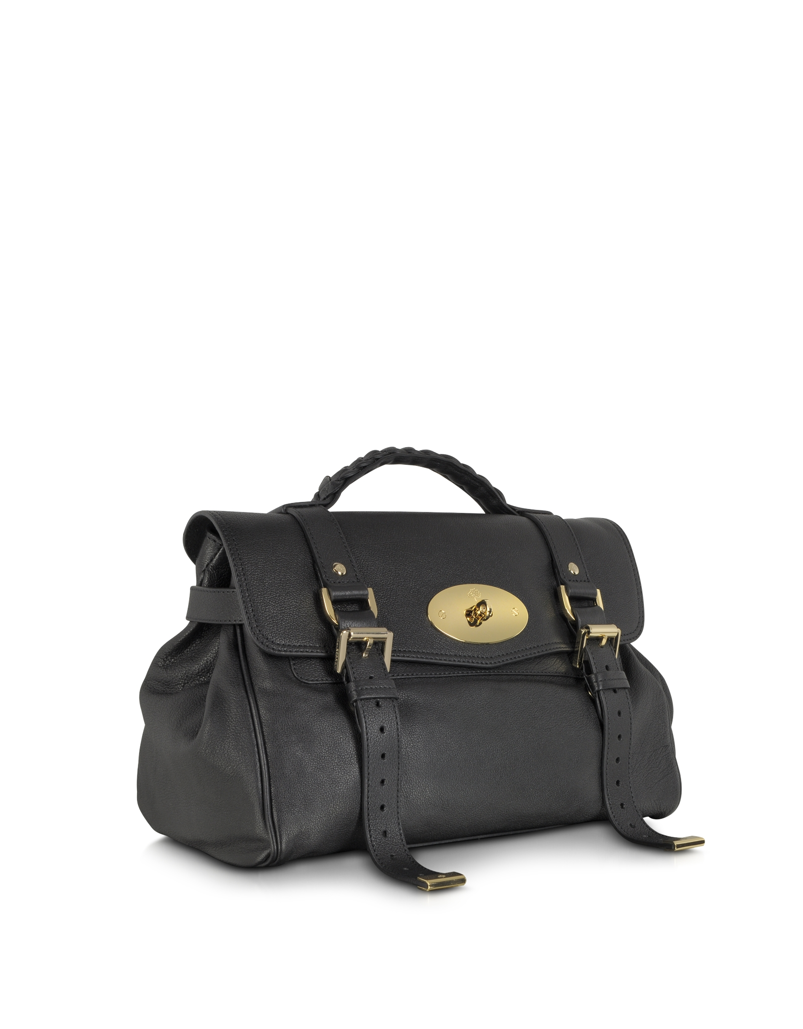 255119deec Lyst - Mulberry Alexa Black Polished Buffalo Leather with Soft Gold ...
