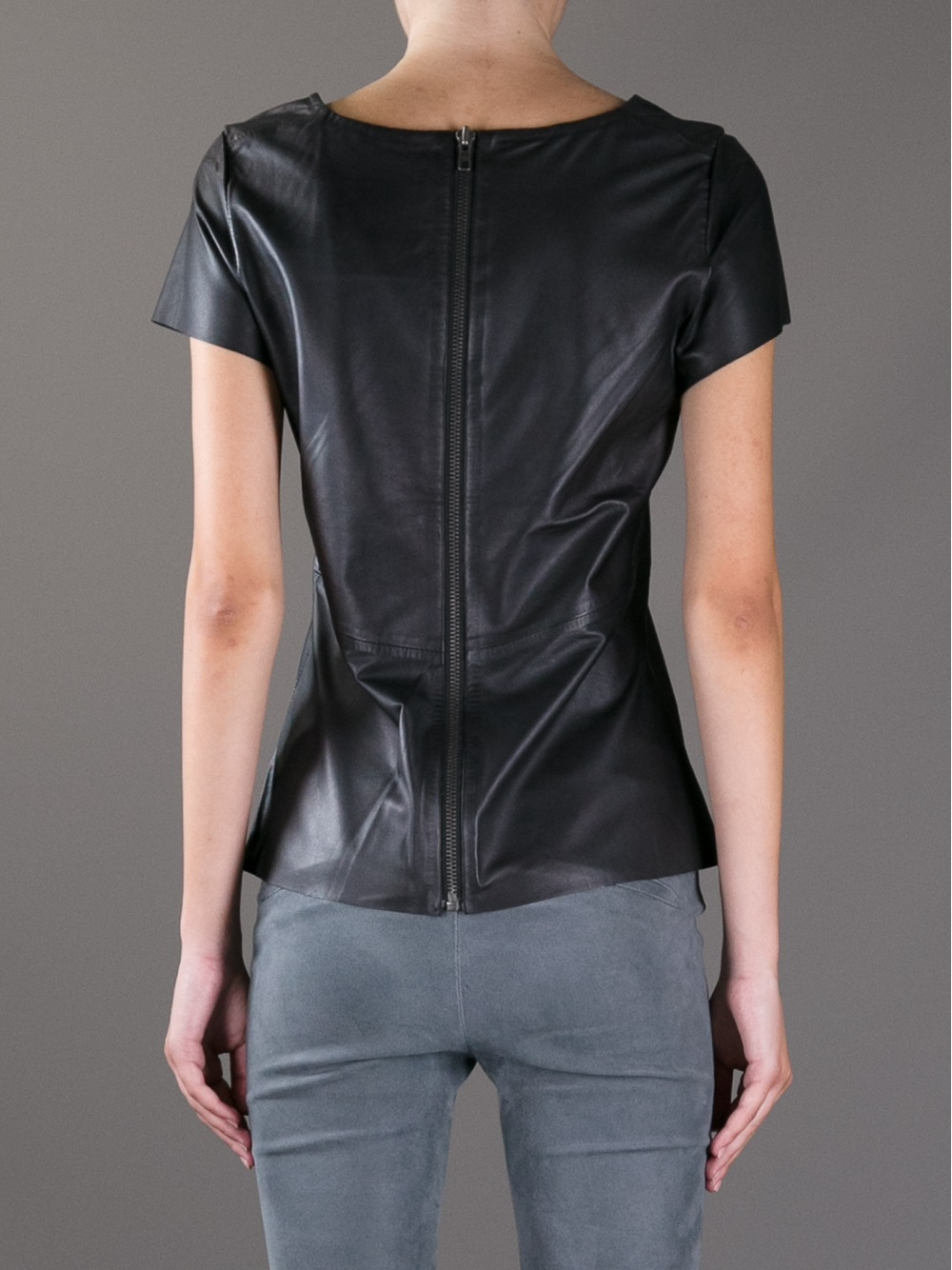 Lyst Muubaa Short Sleeve Leather T Shirt In Black