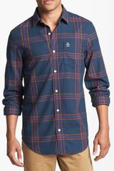 Original Penguin Slim Fit Plaid Cotton Shirt - Lyst