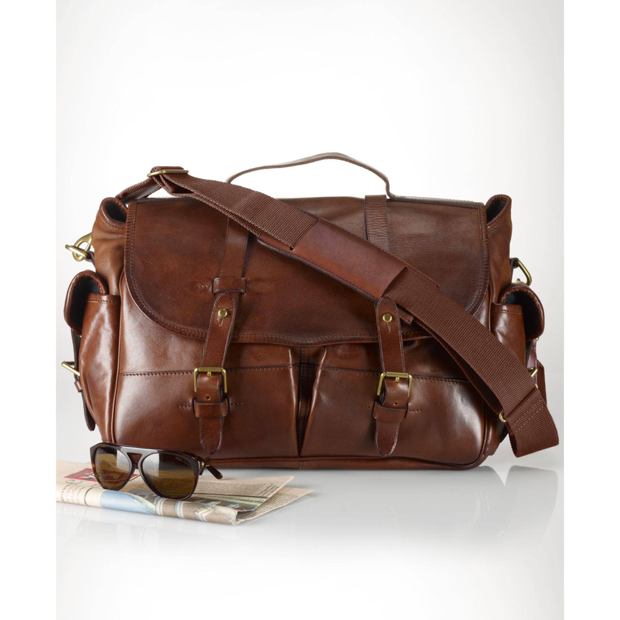 b3d719f8b36c Lyst - Ralph Lauren Leather Messenger Bag in Brown for Men