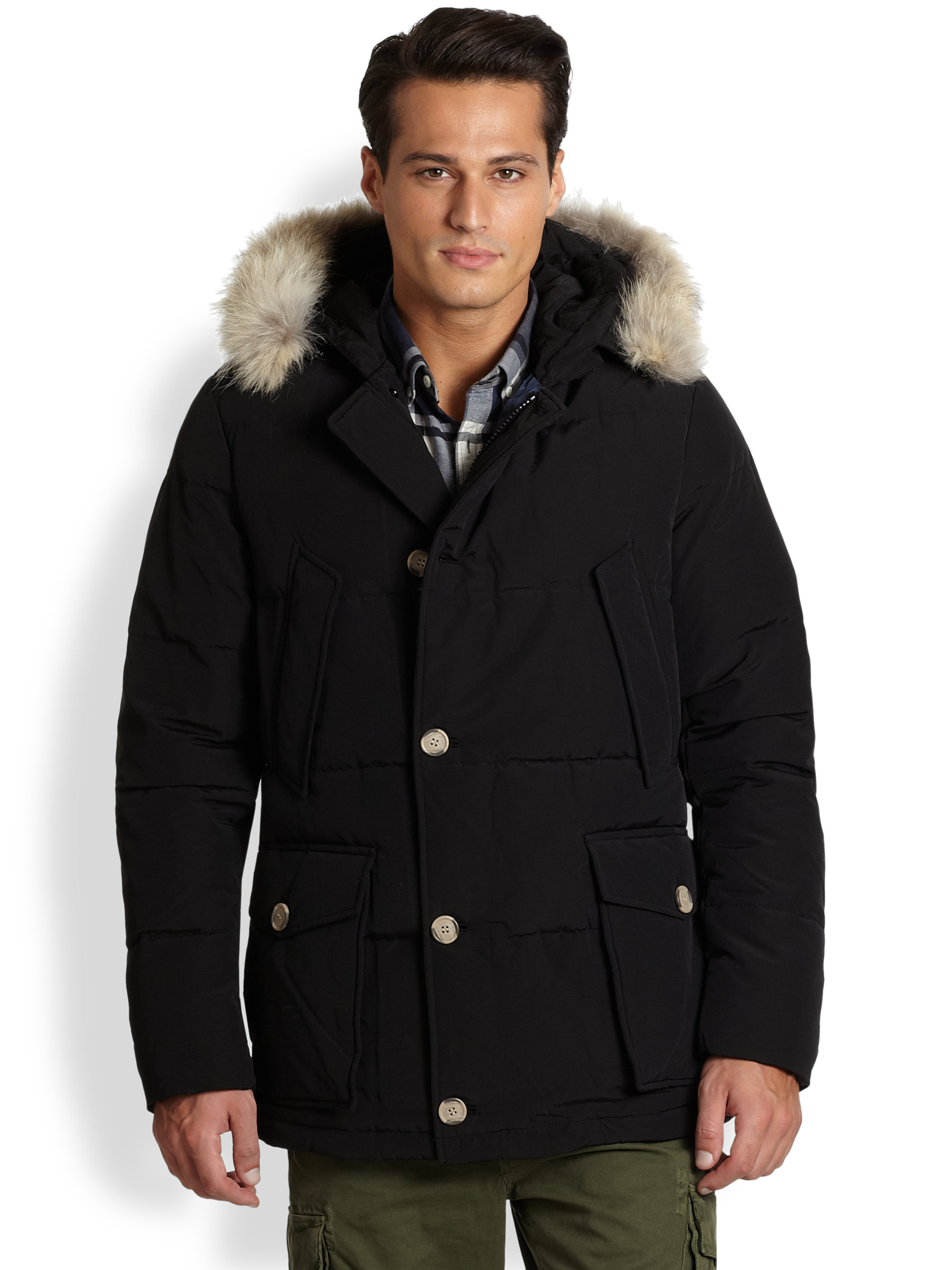 woolrich quilted arctic anorak in black for men lyst. Black Bedroom Furniture Sets. Home Design Ideas