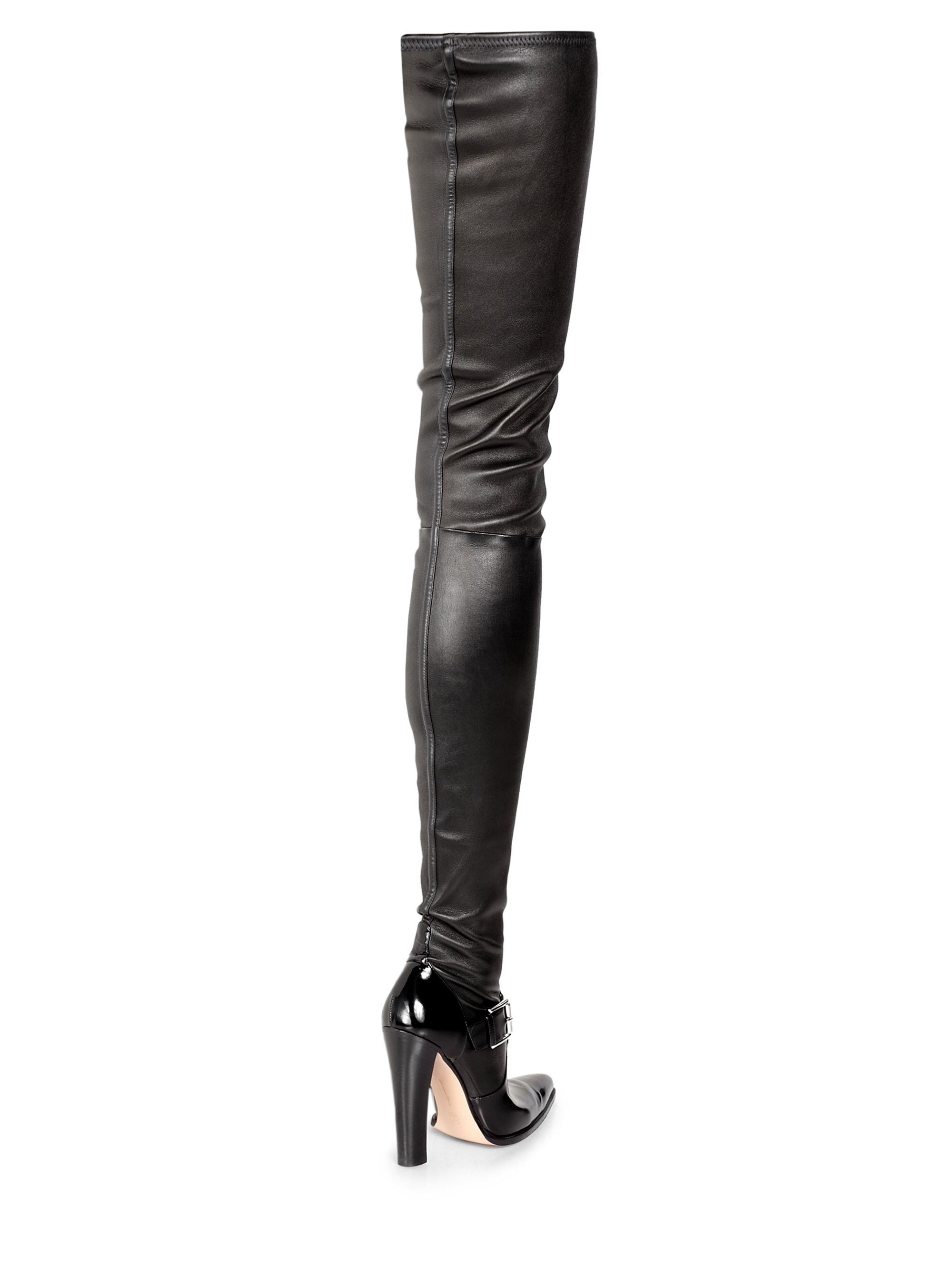 Altuzarra Stretch Leather Thighhigh Boots in Black | Lyst