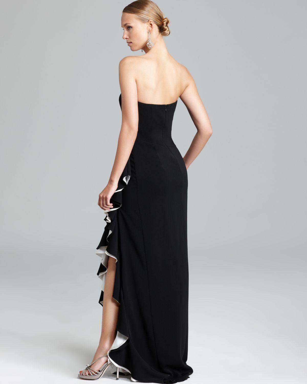 Lyst - Badgley Mischka High Slit Ruffle Gown - Strapless ...