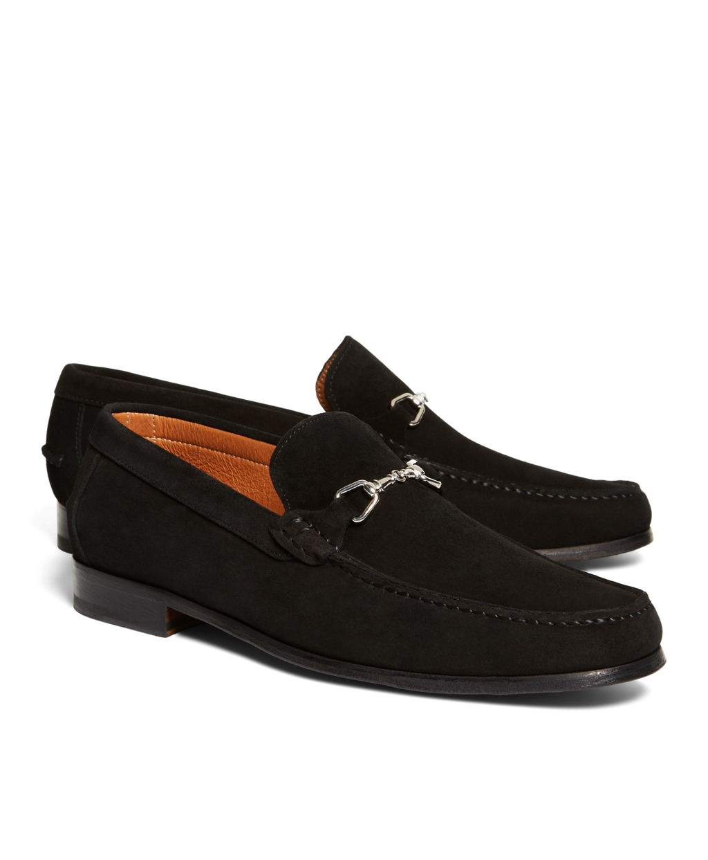 Brooks brothers Suede Buckle Loafers in Black for Men