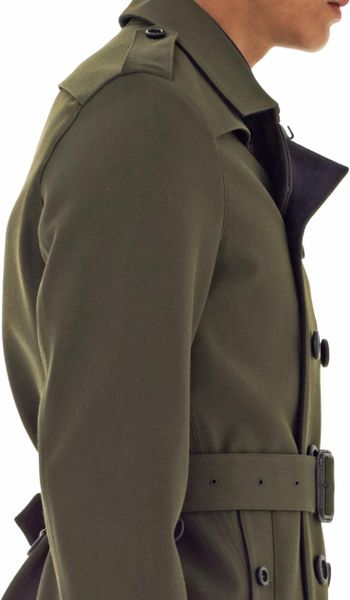 Burberry Prorsum Double Breasted Trench Coat In Khaki For