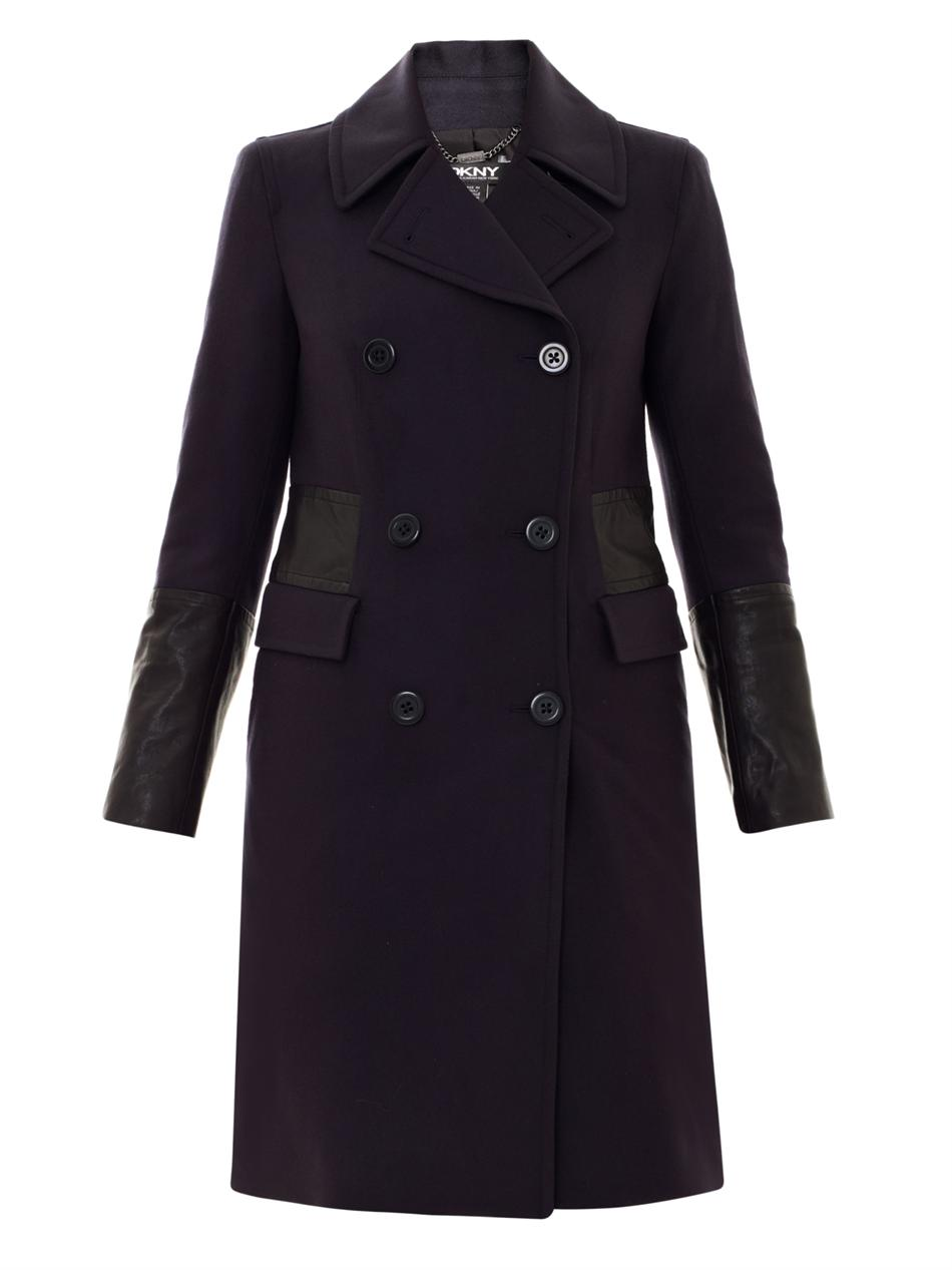 Dkny Leather Trim Doublebreasted Coat In Blue Navy Lyst