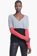 Enza Costa Colorblock Cashmere Sweater - Lyst