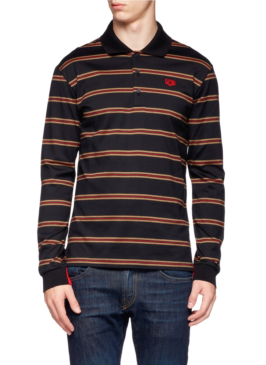Givenchy Cotton Long Sleeve Polo Shirt In Brown For Men Lyst