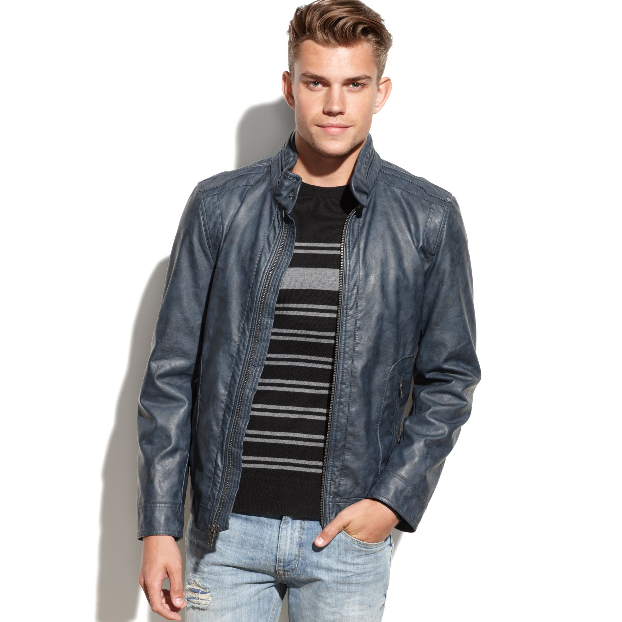 Lyst Guess Coats Lightweight Faux Leather Moto Jacket In