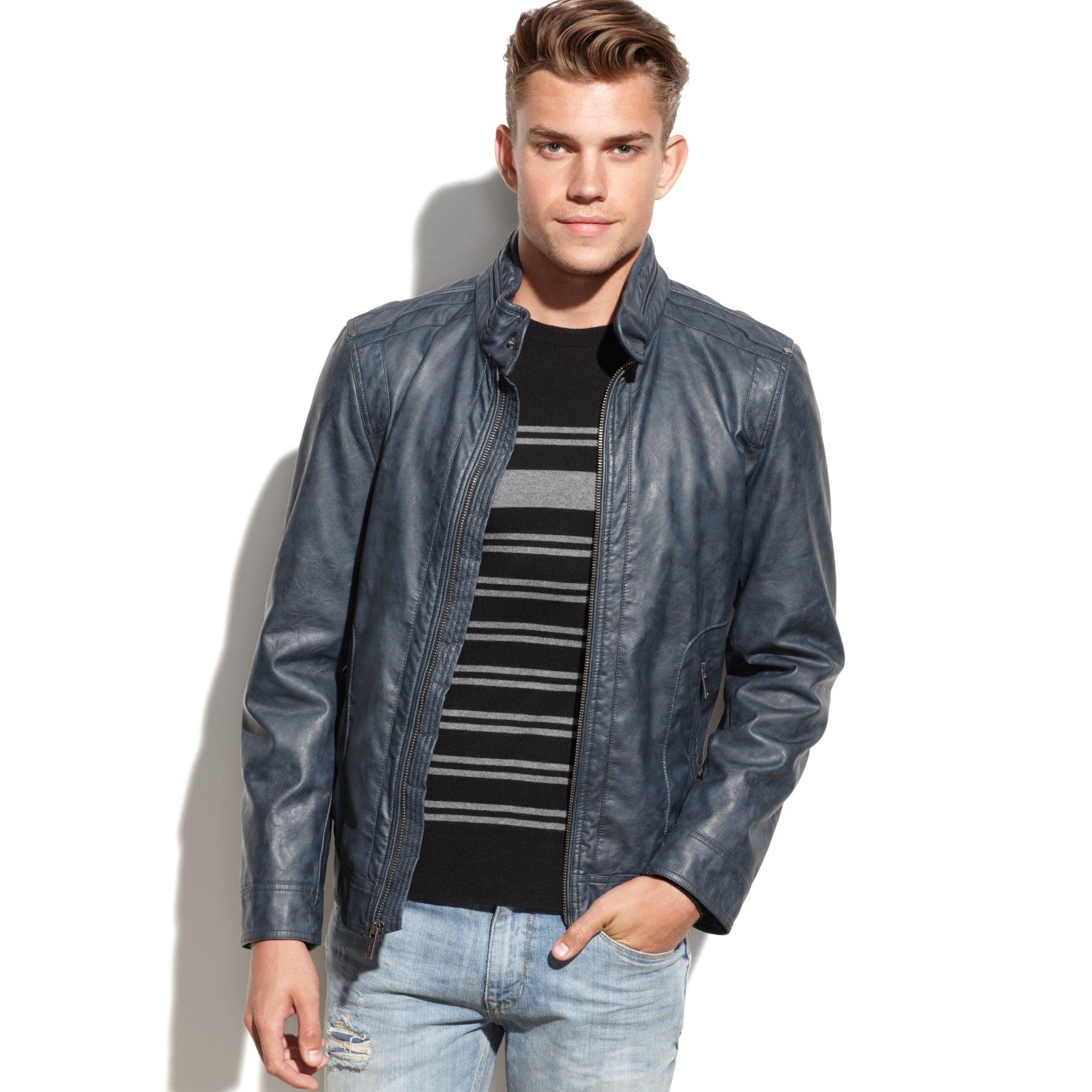 Faux leather moto jacket men