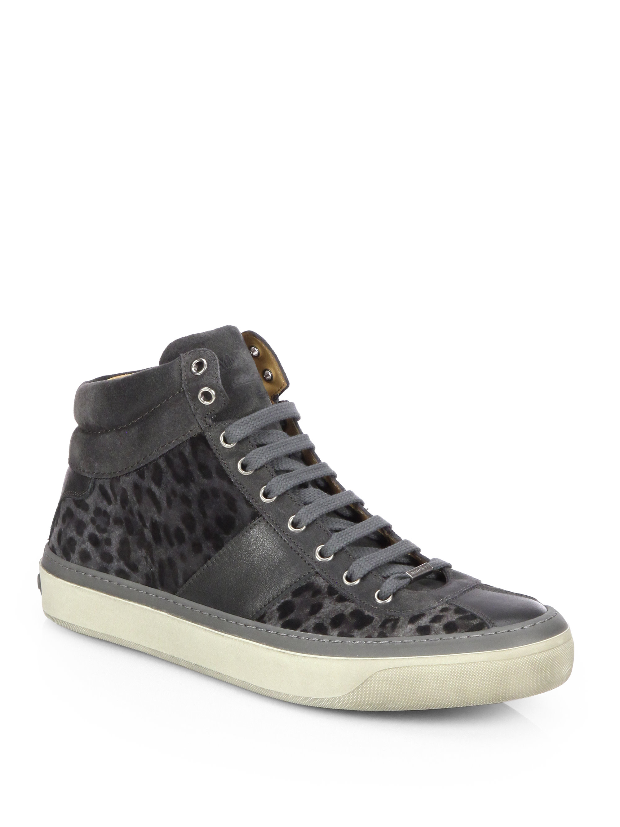 jimmy choo belgravi leopard print hightop sneakers in gray for men lyst. Black Bedroom Furniture Sets. Home Design Ideas