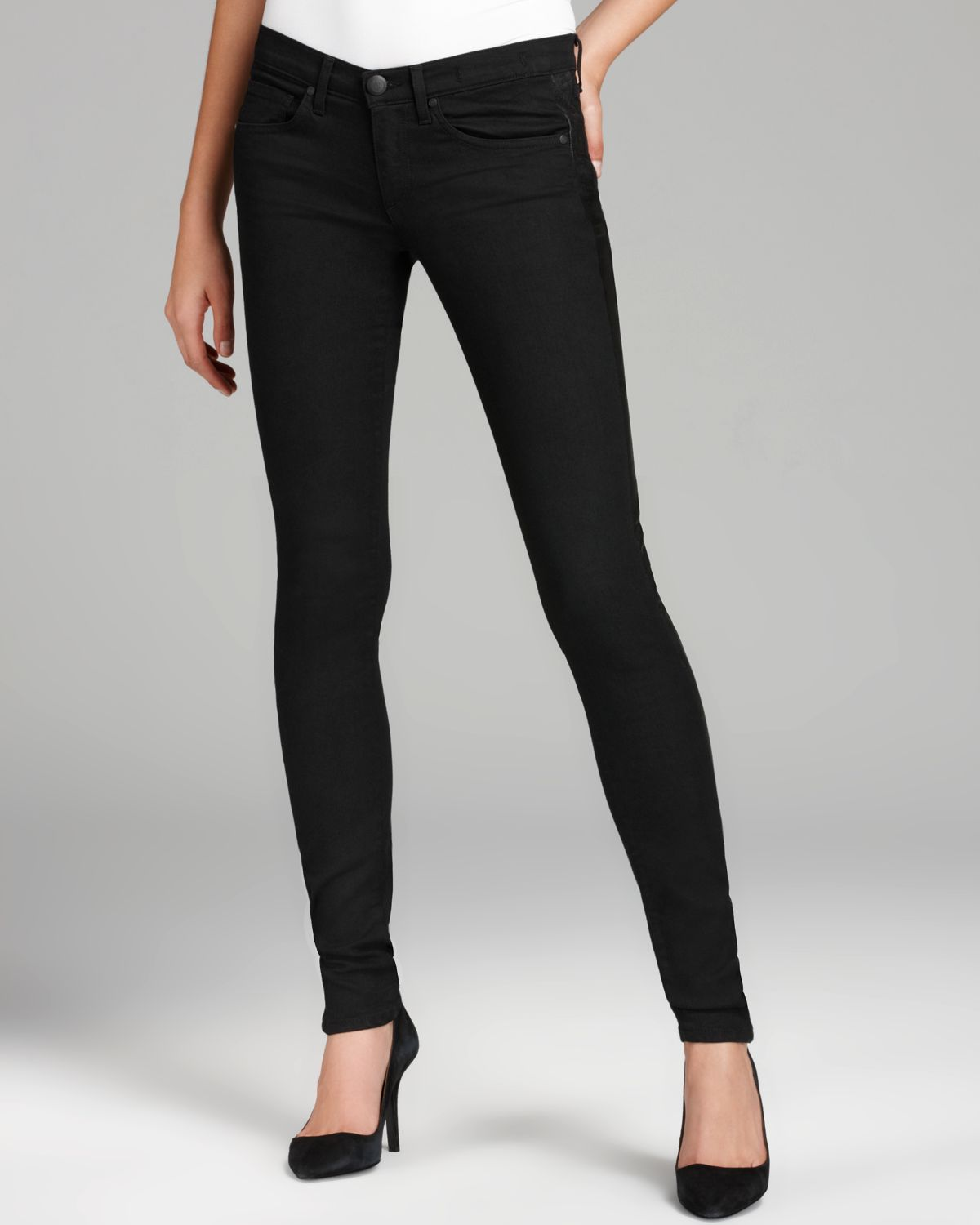 Lyst - Juicy Couture Skinny Jeans Leather Inset in Black 71bcc79d4