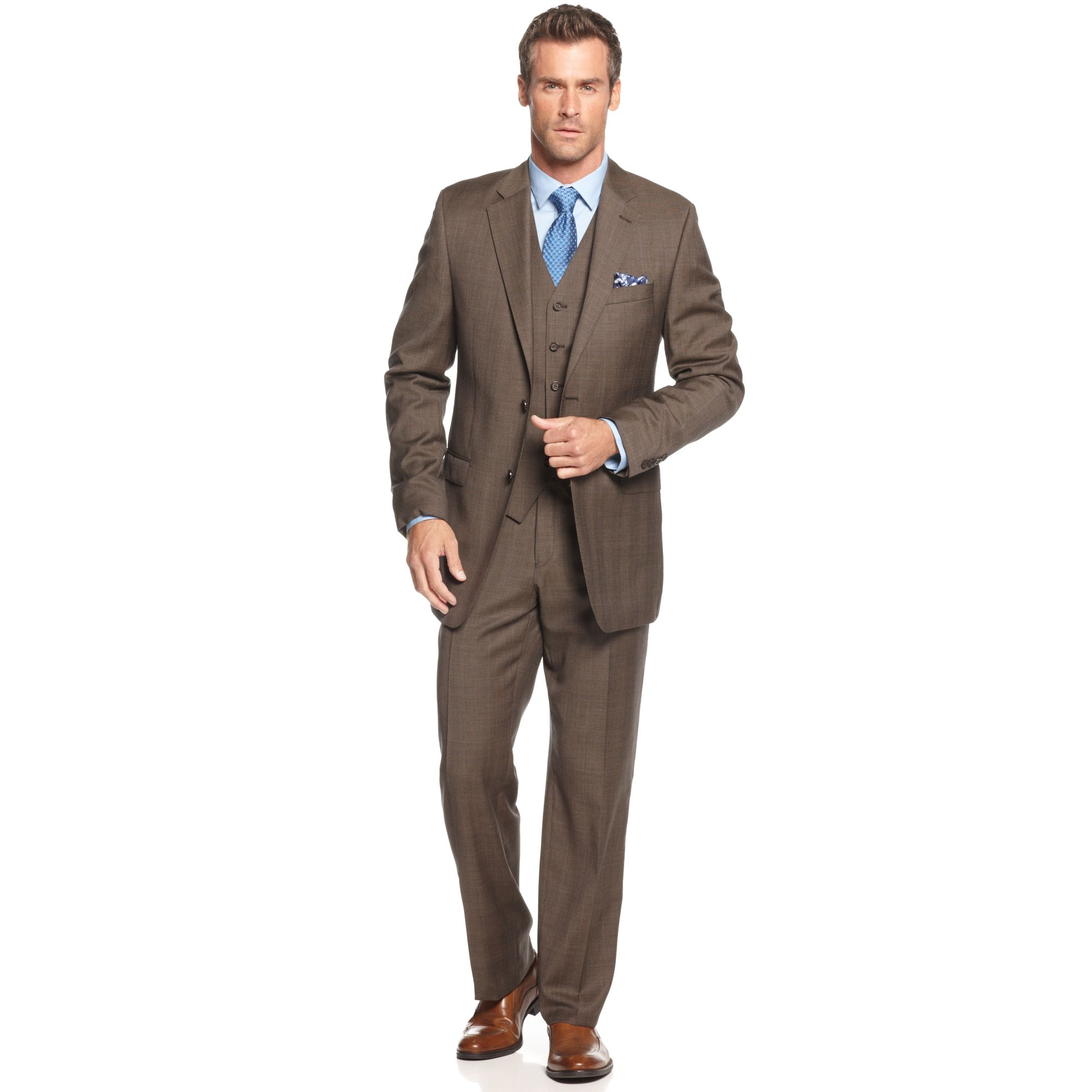 Lauren by ralph lauren Lauren By Ralph Lauren Suit Brown Plaid ...