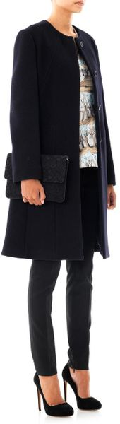 Marni Collarless Washed Wool Coat In Blue Navy Lyst