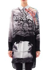 Mary Katrantzou Caven Tree Silhouette-print Silk Dress - Lyst