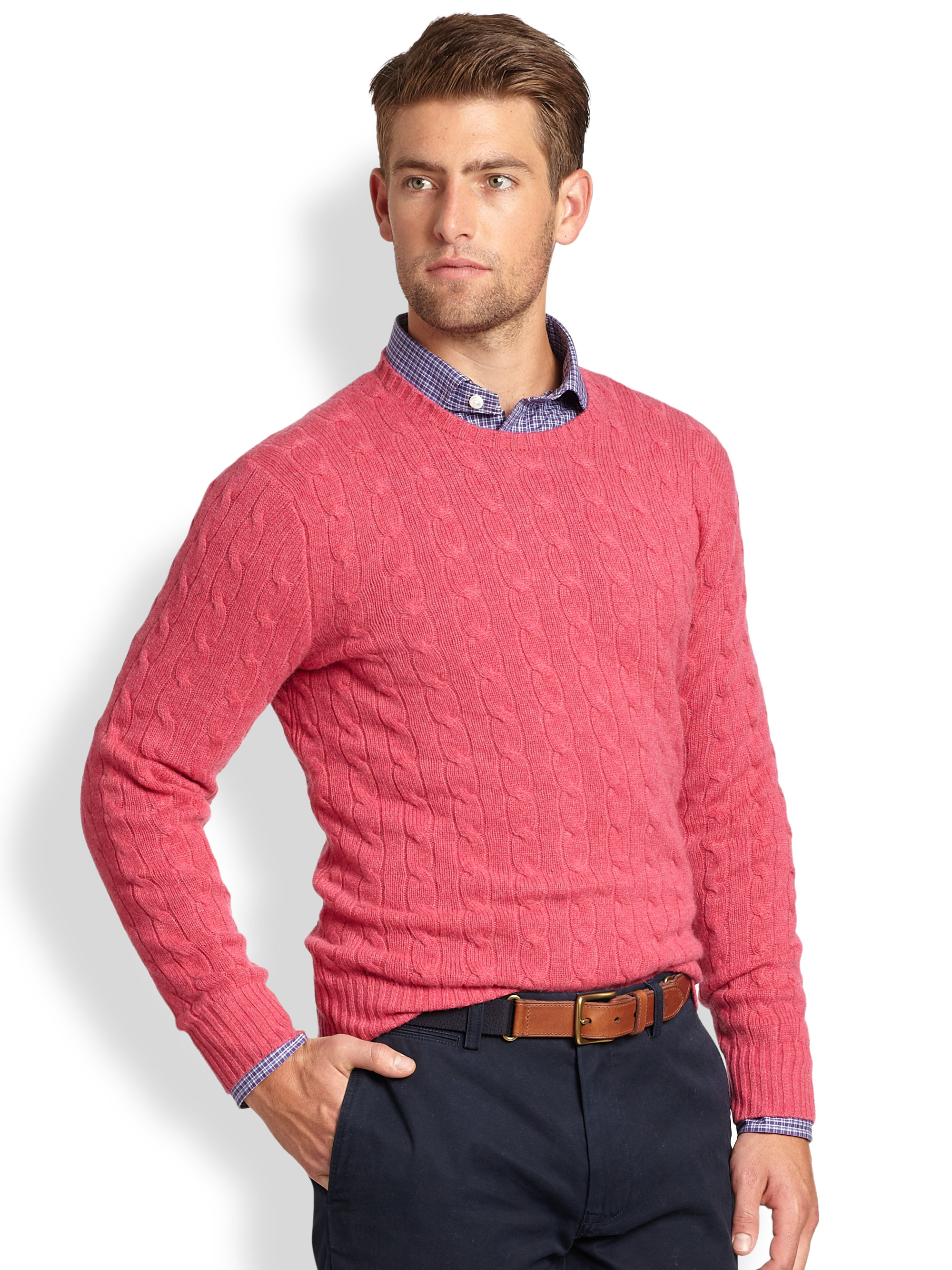 Cable Knit Crewneck Sweater - Cashmere Sweater England