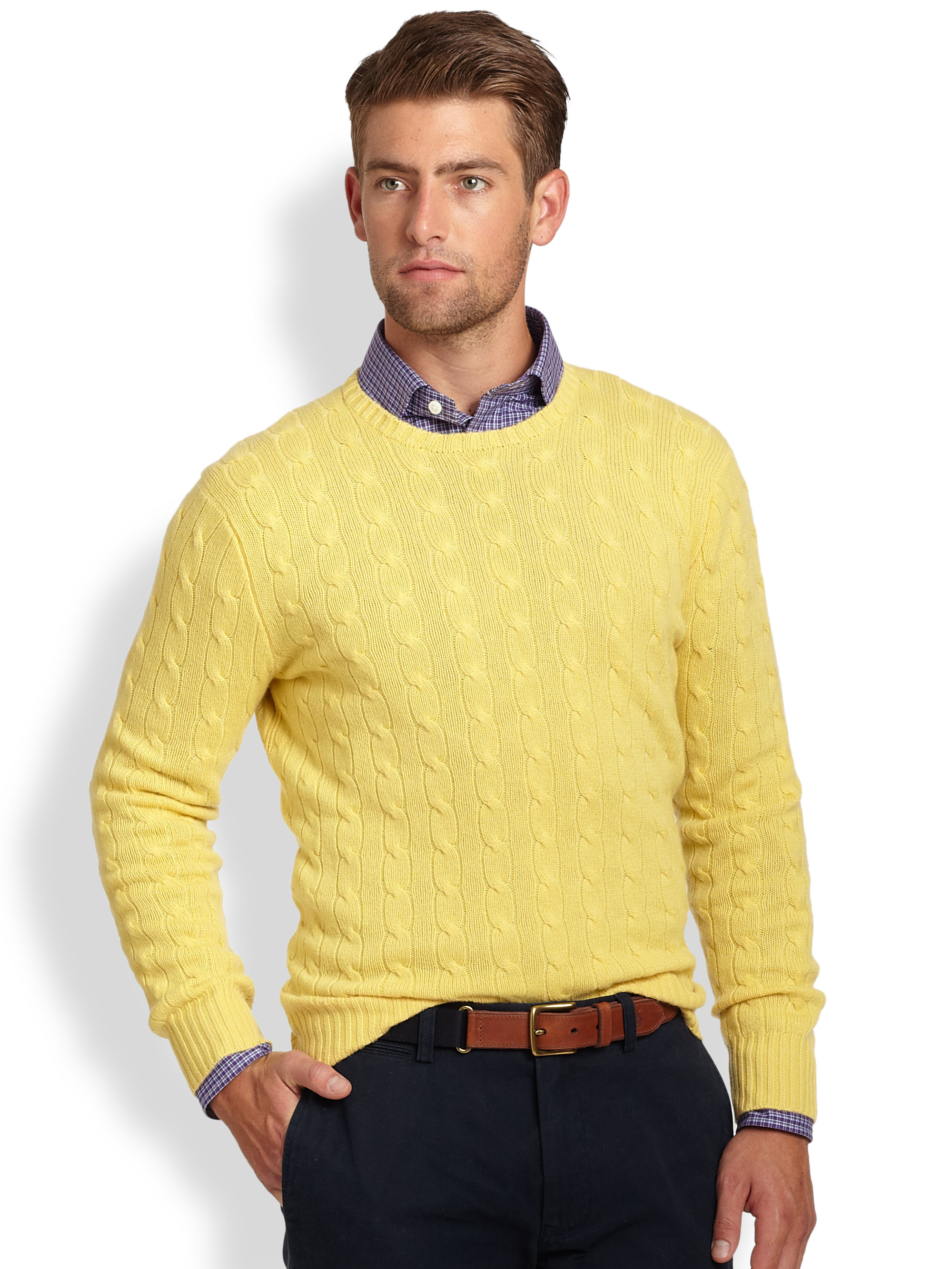 Polo ralph lauren Cable Knit Cashmere Crewneck Sweater in Yellow ...