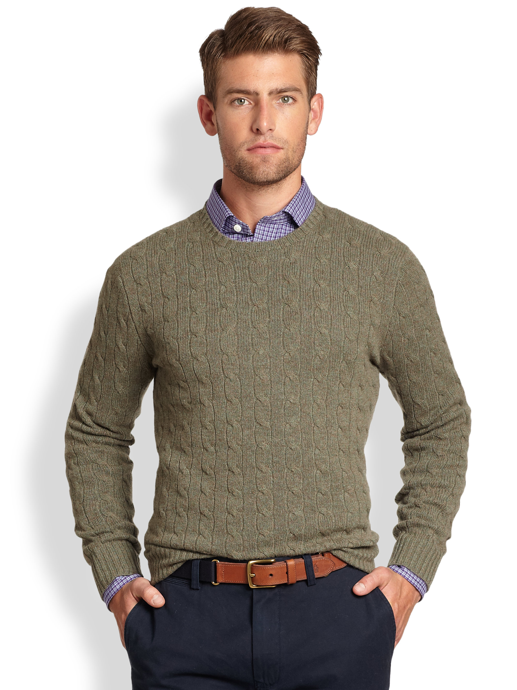f4afe2bfaad2b3 Lyst - Polo Ralph Lauren Cable Knit Cashmere Crewneck Sweater in ...