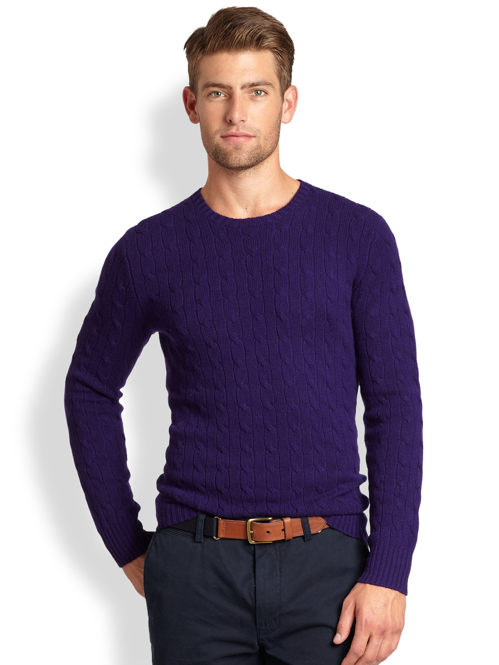Polo ralph lauren Cable Knit Cashmere Crewneck Sweater in Purple ...