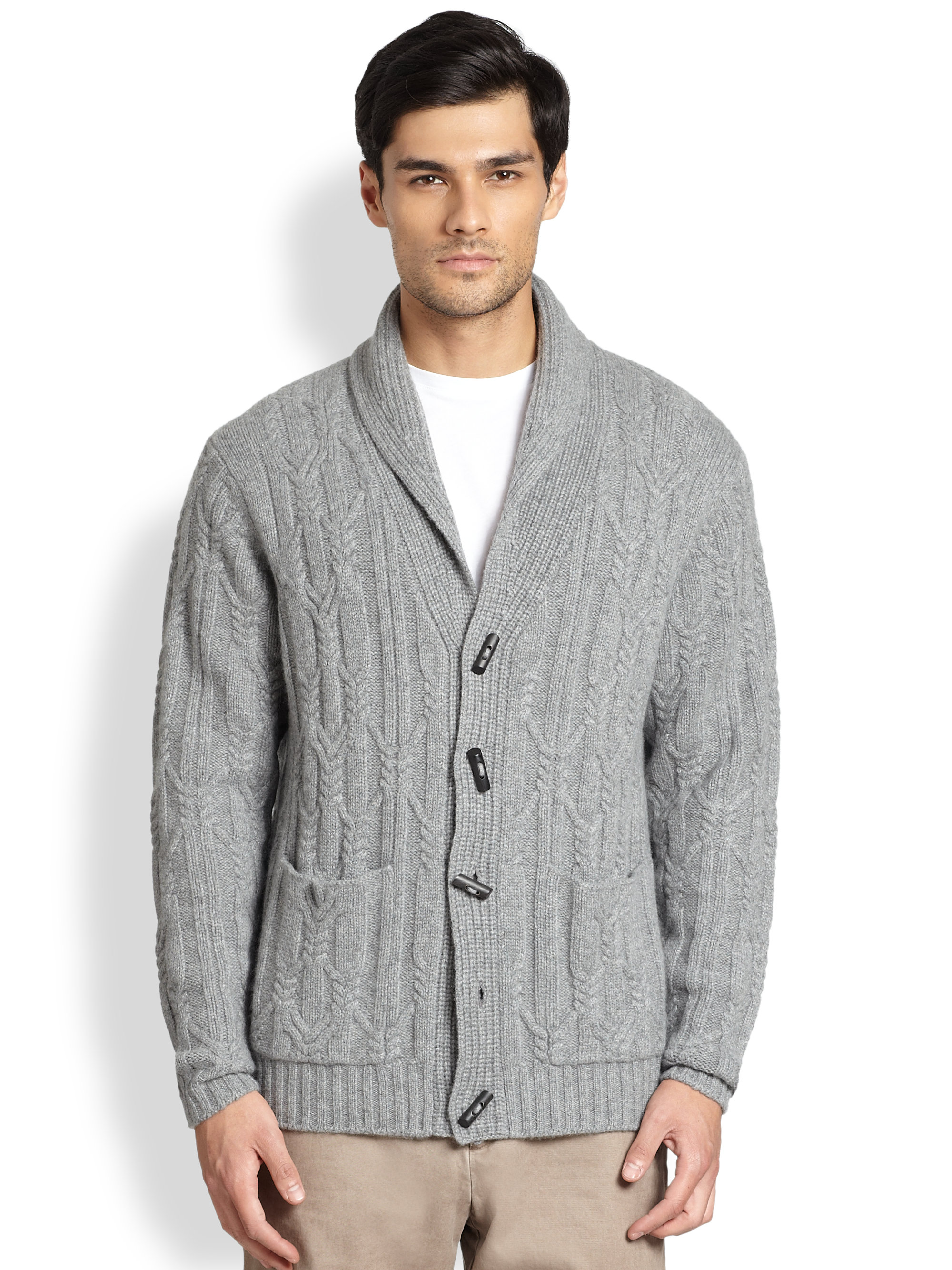 Saks fifth avenue Shawl Cable Knit Cardigan in Gray for Men | Lyst