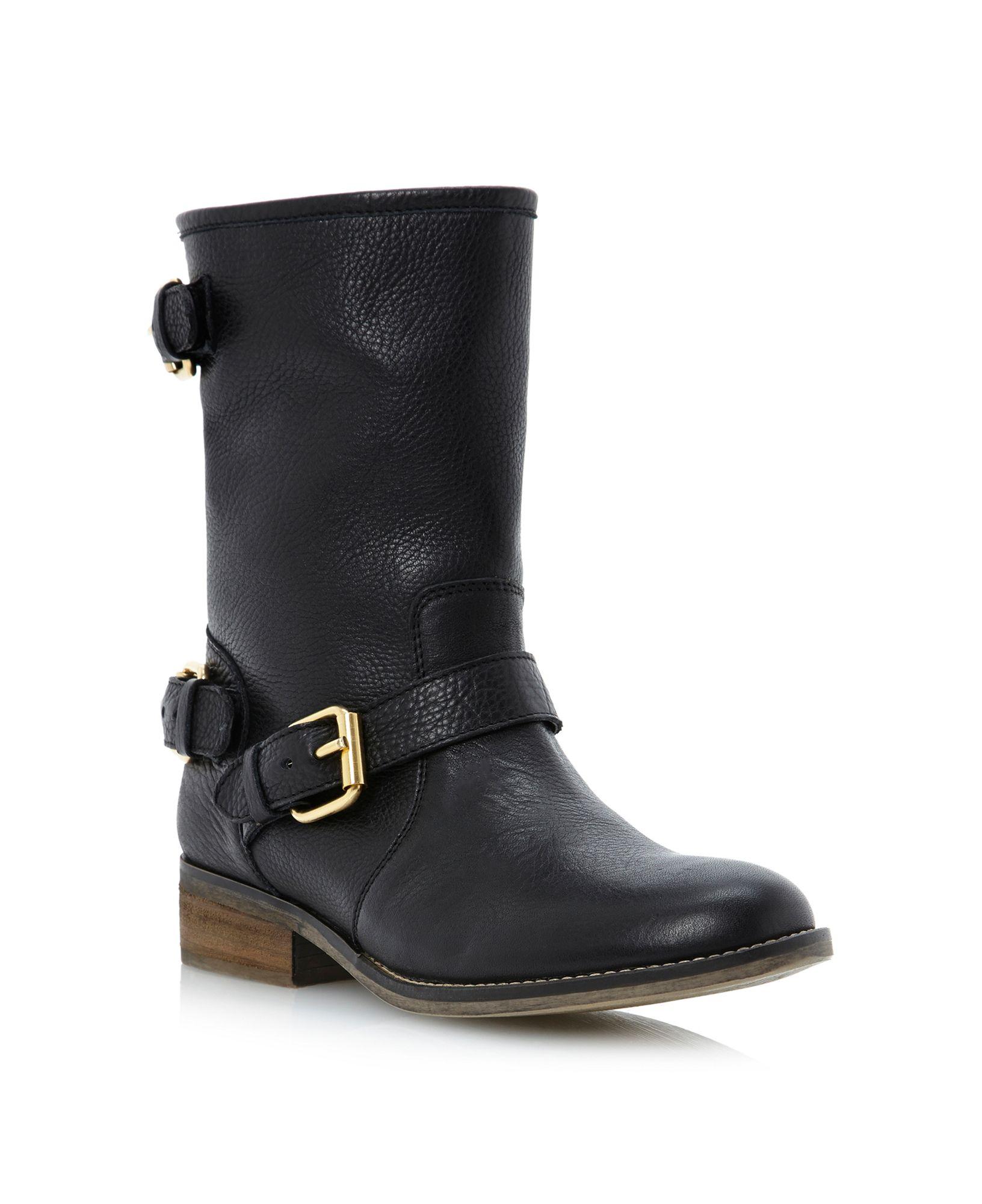 steve madden energize sm gold buckle biker boots in black