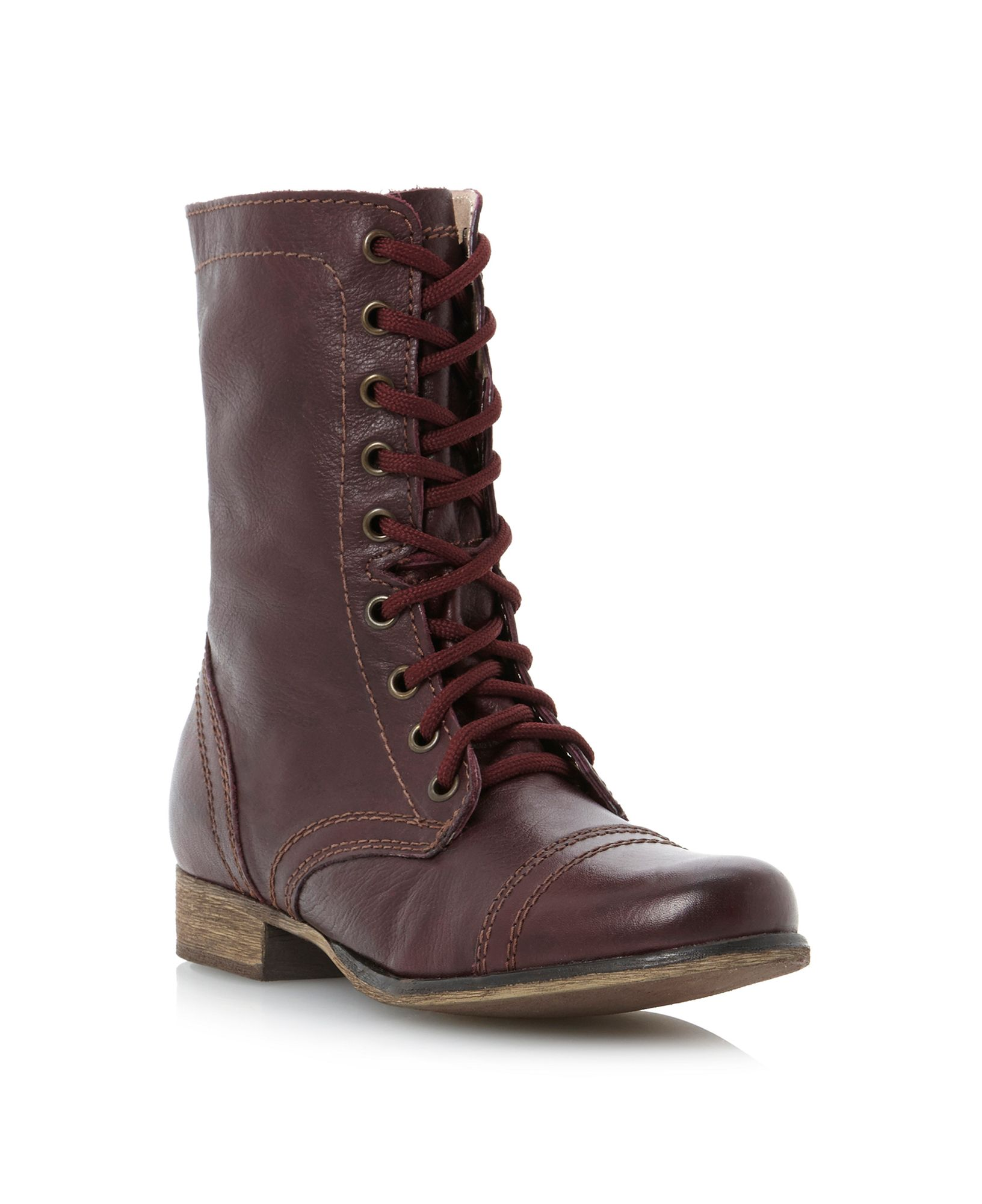 steve madden troopa sm lace up calf boots in brown lyst