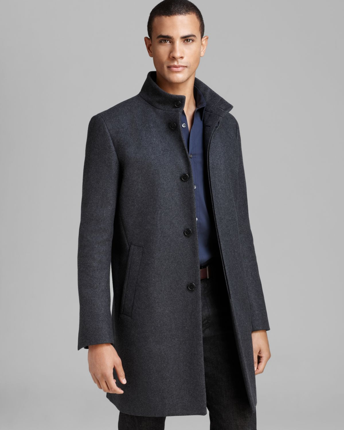 Theory Wool Belvin Vp Voedar Coat In Charcoal Gray For