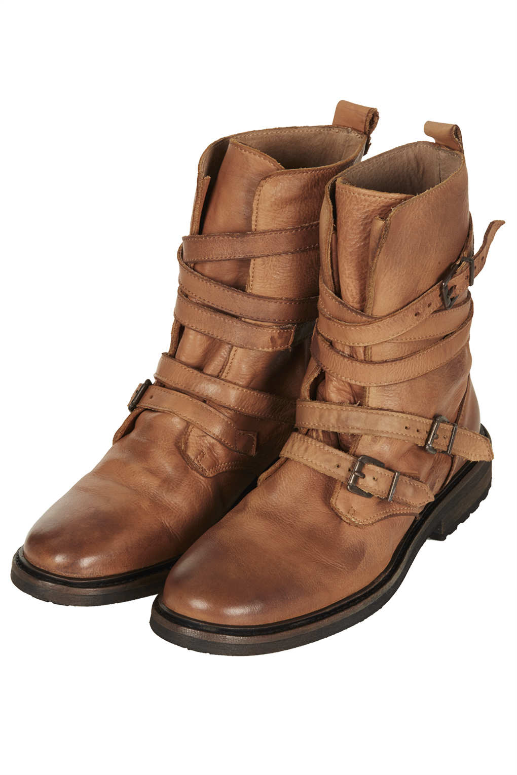 Topshop Arrested Buckle Biker Boots In Brown Lyst