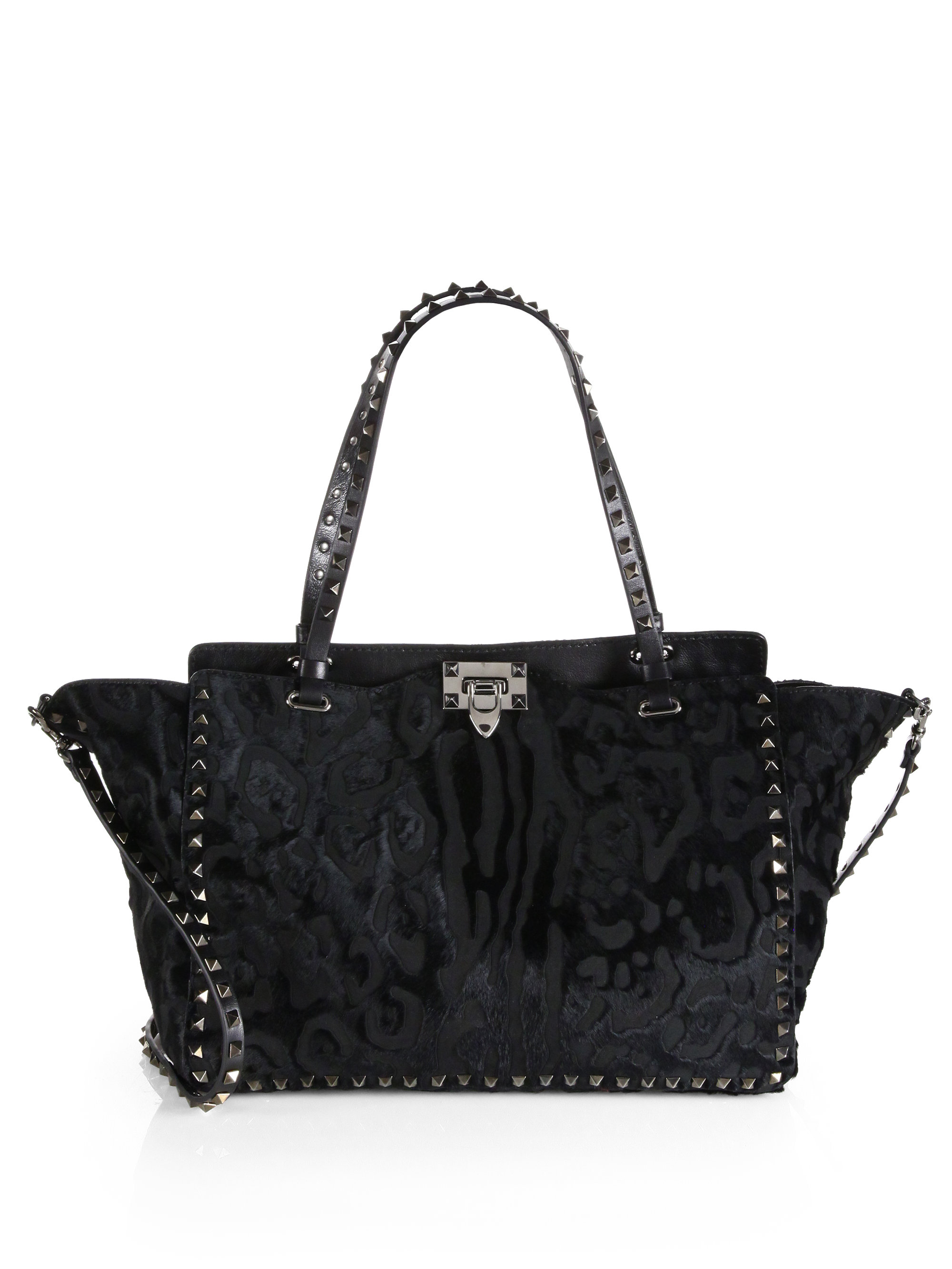 Lyst Valentino Noir Rockstud Cavino Etched Calf Hair Tote in Black