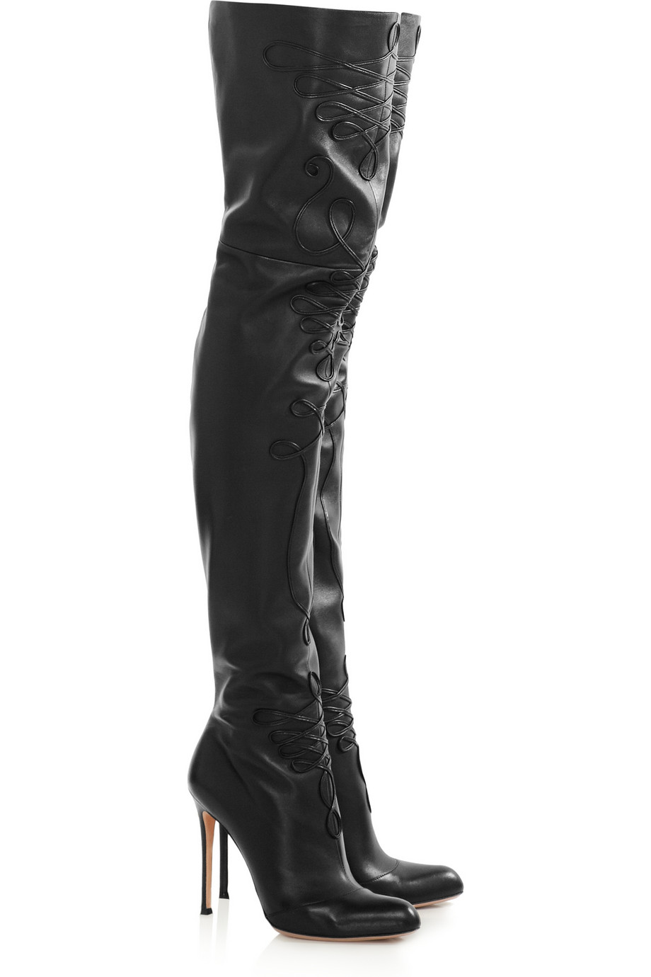 Lyst Altuzarra Embroidered Leather Thigh Boots In Black