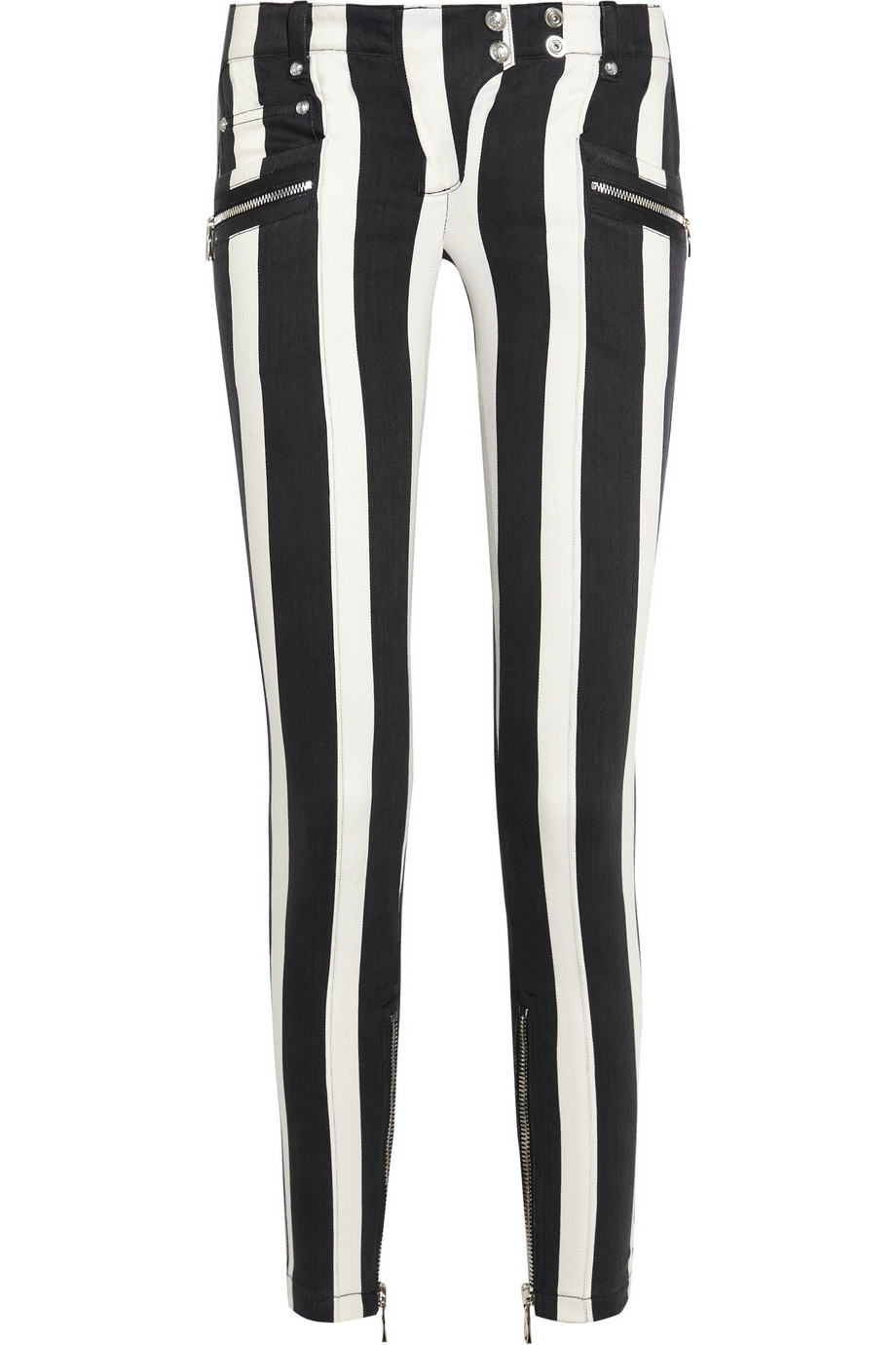 Balmain Striped Low-rise Skinny Jeans in White | Lyst