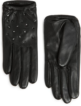 Mango Touch Strass Short Leather Gloves - Lyst
