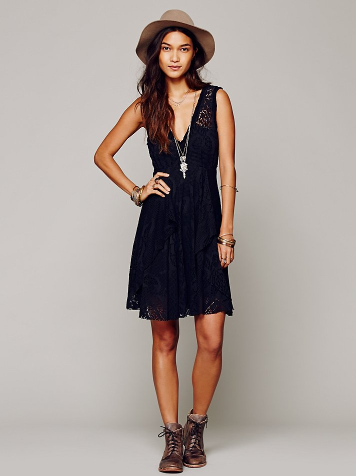 Lyst Free People Flower Basket Sun Dress In Black