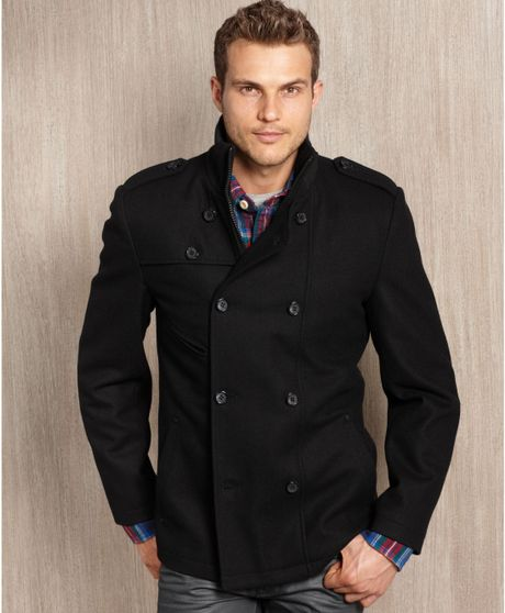 Guess Guess Coat Woolblend Double Breasted Modern Pea Coat