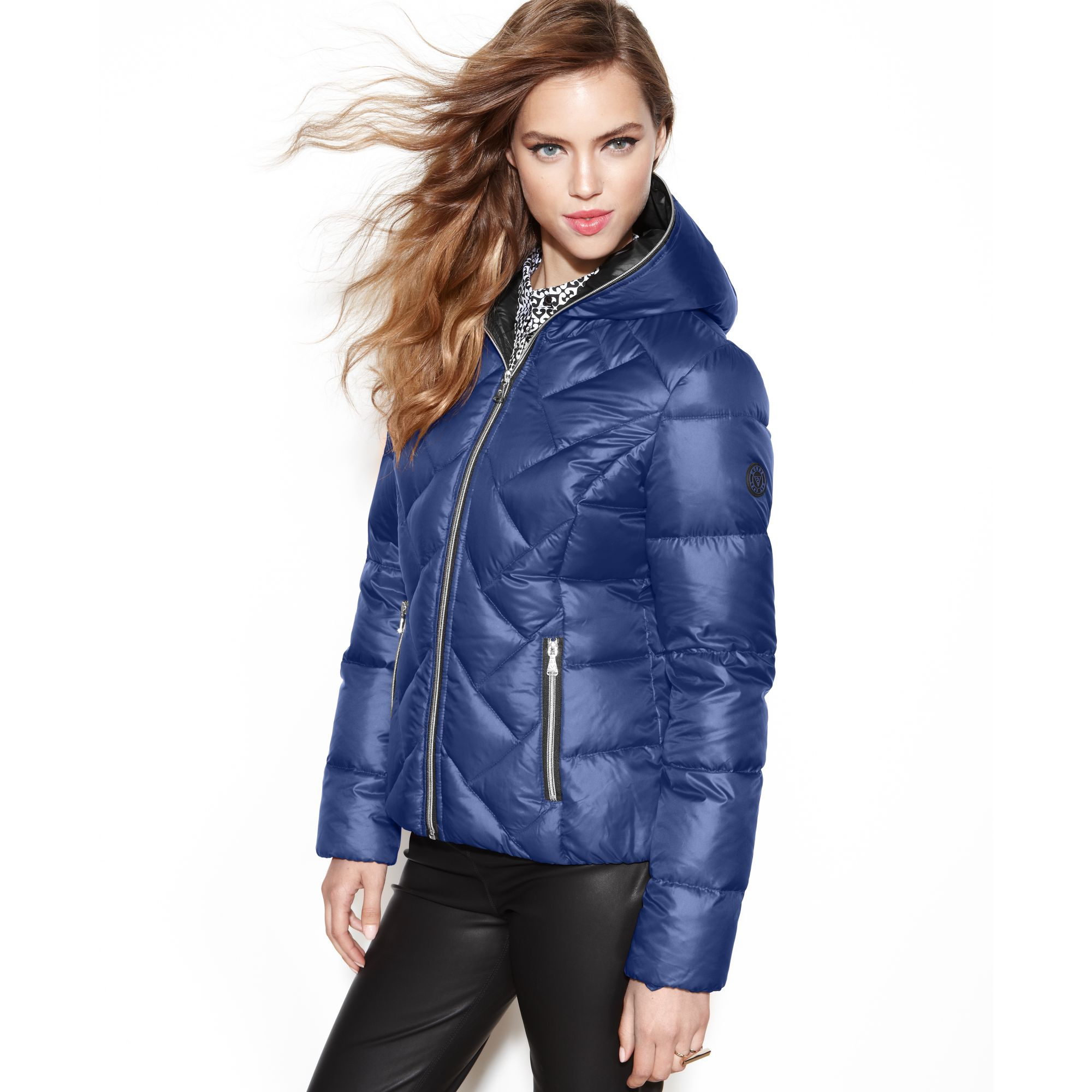 Guess Coat Hooded Quilted Puffer In Blue Cobalt Lyst