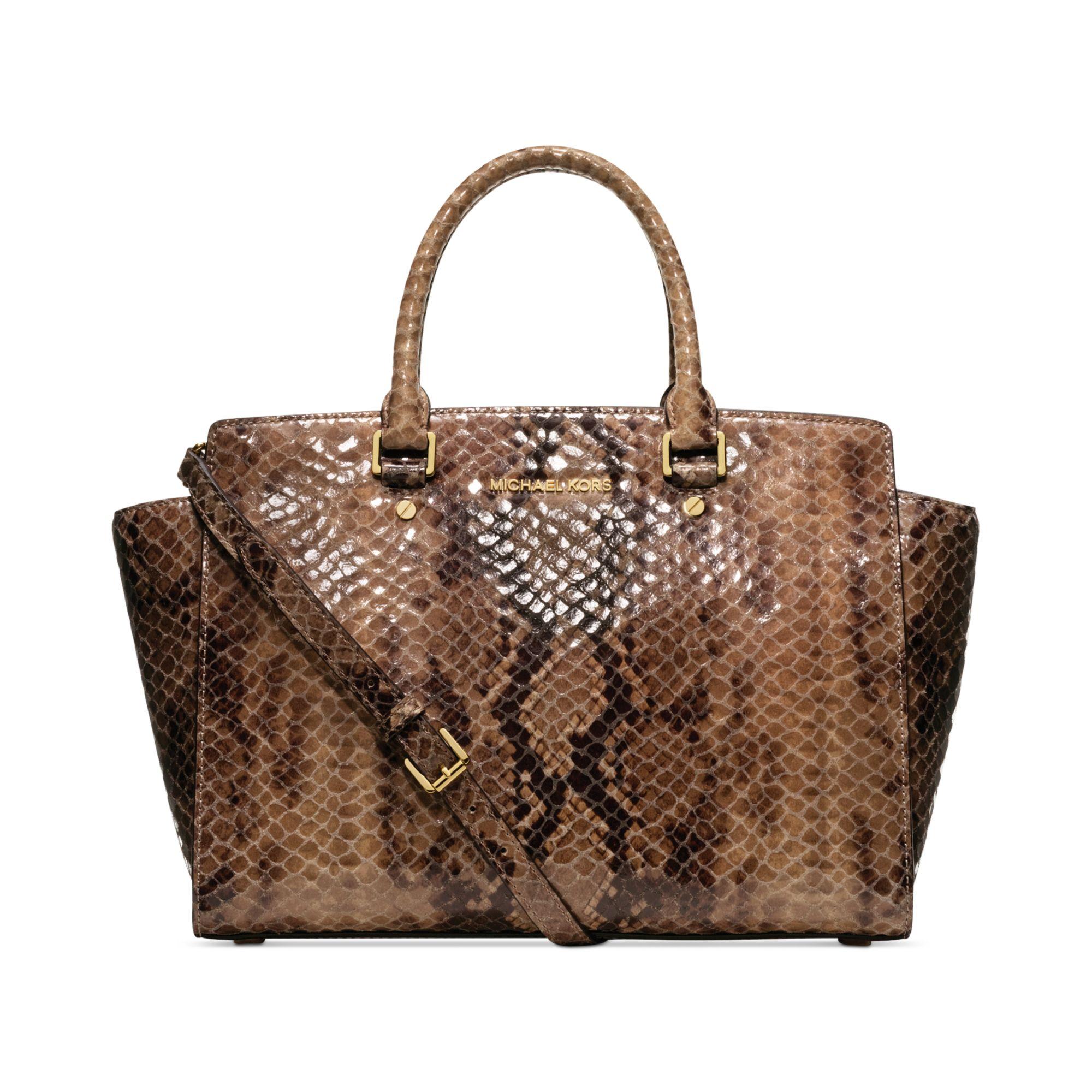 michael kors selma large python satchel in animal sand. Black Bedroom Furniture Sets. Home Design Ideas
