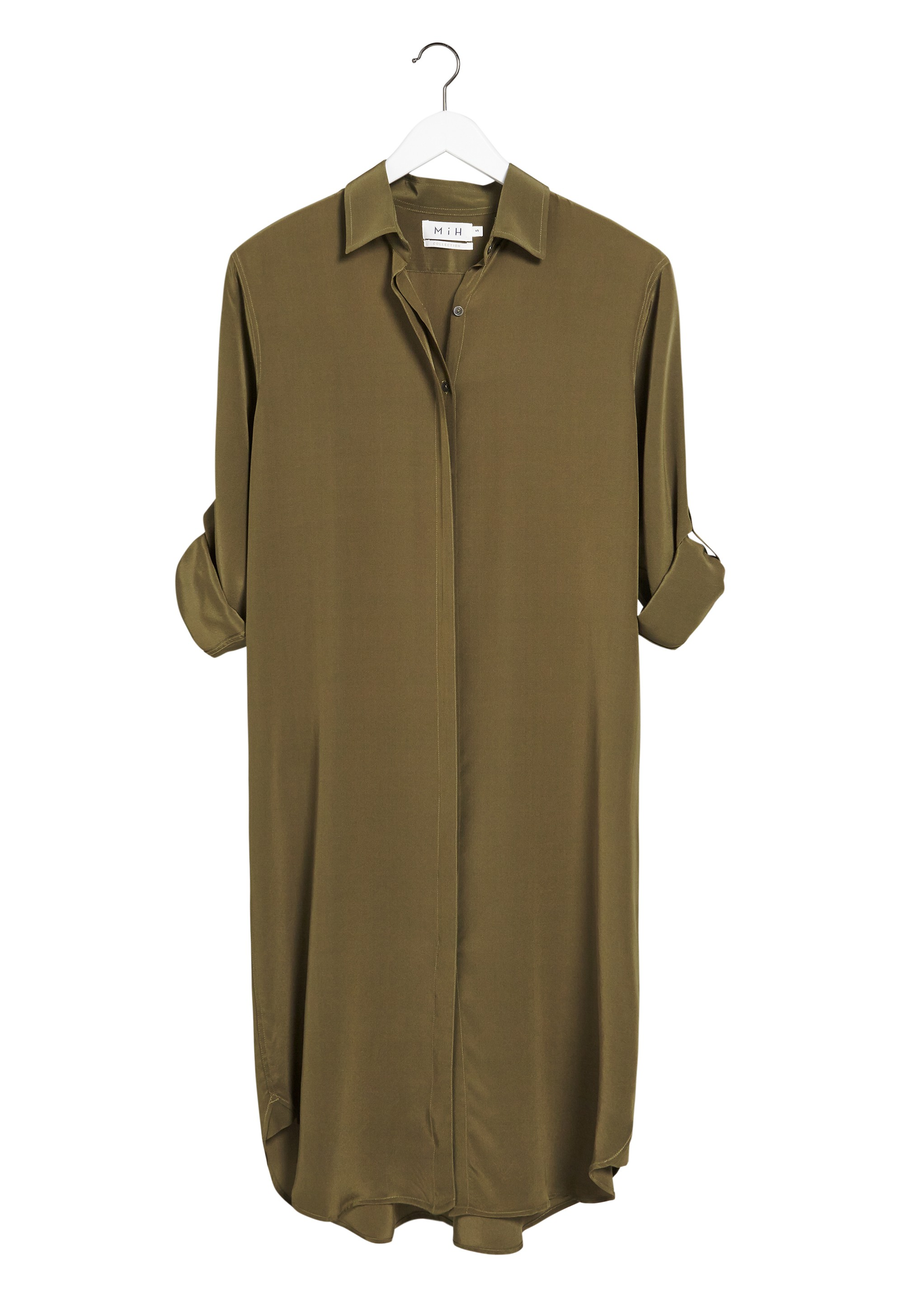 Mih jeans the extra long oversize shirt in green army for Extra long dress shirts
