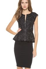 Milly Paneled Peplum Top - Lyst