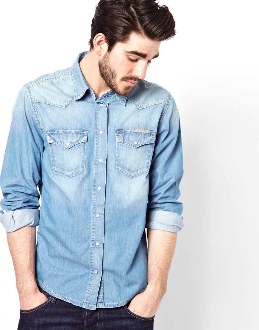 Shop for men's denim and chambray shirts with ASOS. Browse our men's jean shirt styles, from check to stripes, long sleeve to three-quarter sleeve shirts. your browser is not supported. To use ASOS, we recommend using the latest versions of Chrome, Firefox, Safari or Internet Explorer.