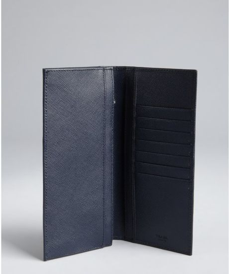 0bcaf6e00f5f Prada Baltic Blue Saffiano Leather Long Bifold Wallet in Black for Men ( baltic)