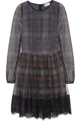 RED Valentino Plaid print Tulle Dress - Lyst