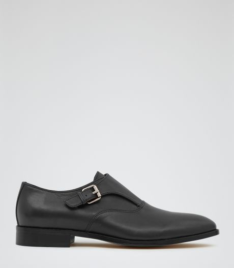 Reiss Samson Single Buckle Monk Shoes in Black for Men