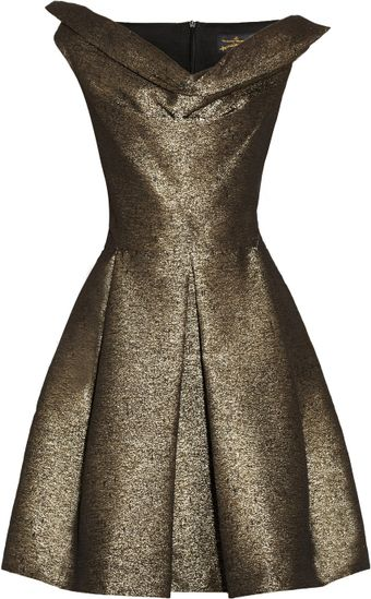 Vivienne Westwood Anglomania Halton Draped Metallic Jacquard Dress - Lyst