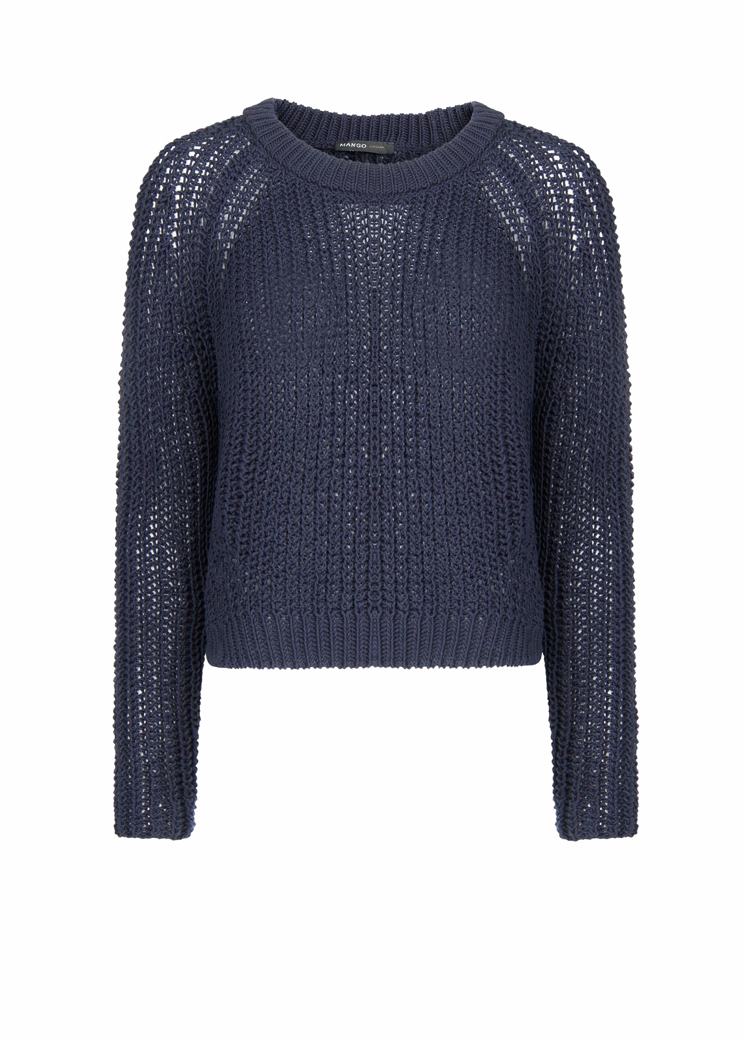 Mango Chunky Knit Cropped Sweater in Blue | Lyst